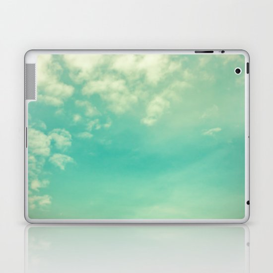 Retro Vintage Blue Turquoise Fall Sky and Clouds Laptop & iPad Skin