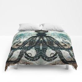 Octopus In Stormy Water Comforters
