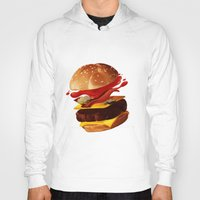 hamburger Hoodies featuring Hamburger by Hikkaphobia