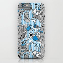 Books: Through the rabbit hole_Gray and Blue iPhone Case