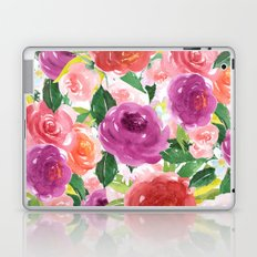 Hand painted pink purple watercolor roses floral Laptop & iPad Skin