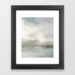 Modern Abstract Painting, Light Teal, Sage Green, Gray Cloudy Weather Digital Prints Wall Art, Ocean Framed Art Print