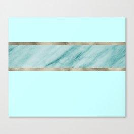 Aqua marble azure stripe Canvas Print