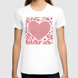 red white heart on red floral ornament background. Optical illusion of 3D T-shirt