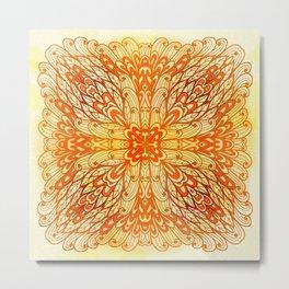 Hand Drawn Floral Mandala 01 Metal Print