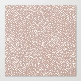 Little wild cheetah spots animal print neutral home trend warm dusty rose coral Canvas Print