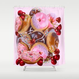 RED CHERRIES & PINK-CHOCOLATE FROSTED DONUTS Shower Curtain