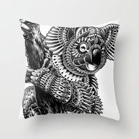ornate Throw Pillows featuring Ornate Koala by BIOWORKZ