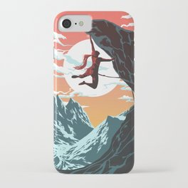 Rock Climbing Girl Vector Art iPhone Case