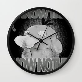 I know nothing black Wall Clock
