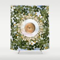 evil eye Shower Curtains featuring EVIL EYE II by DIVIDUS