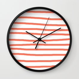 Simply Drawn Stripes in Deep Coral Wall Clock