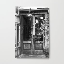 Vintage black & white door Metal Print