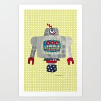 50s Art Prints featuring pete 50s retro robot by blossyfloss