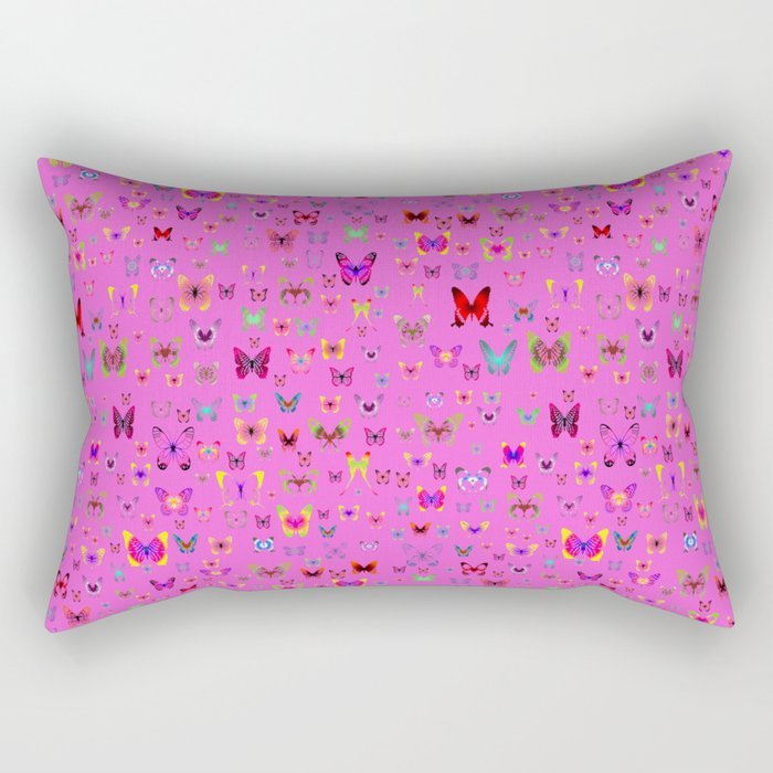 Numerous colorful butterflies on a neutral background Rectangular Pillow