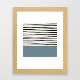 Dusty Blue x Stripes Framed Art Print