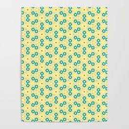 Scattered Teal Yellow Pattern Poster