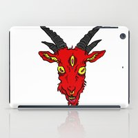 baphomet iPad Cases featuring Red Devil Goat by Andrea Croak