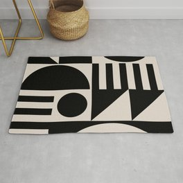 Mid Century Modern Geometric Abstract 936 Black and Linen White Rug