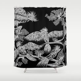 Japanese Birds Inverted Shower Curtain