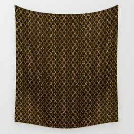 Golden Brown Scissor Stripes Wall Tapestry