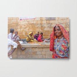 Semi-urban scene inside Jaisalmer Fort, Rajasthan, India Metal Print