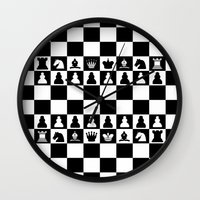 chess Wall Clocks featuring chess by Vickn