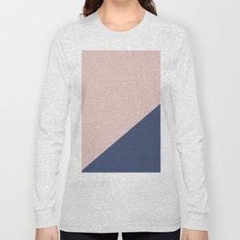 Soft Pink Plus Dark Blue - oblique Long Sleeve T-shirt