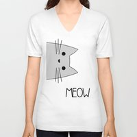 meow V-neck T-shirts featuring Meow by Hugh & West