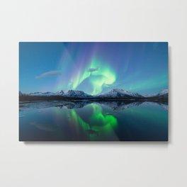 Northern lights and mountains Metal Print