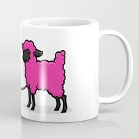 border collie Mugs featuring Border Collie Knitting by Diony Cook Rouse