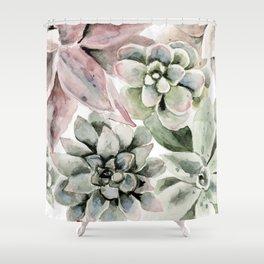 Circular Succulent Watercolor Shower Curtain