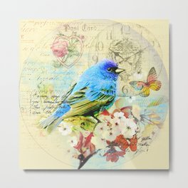 Vintage illustration with bird and butterfly Metal Print