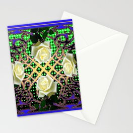 BLUE-GREEN WHITE ROSE GARDEN  TAPESTRY ART Stationery Cards