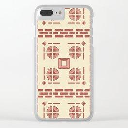 Mediterranean Pattern 8 - Tile Pattern Designs - Geometric - Red - Ceramic Tile - Surface Pattern Clear iPhone Case