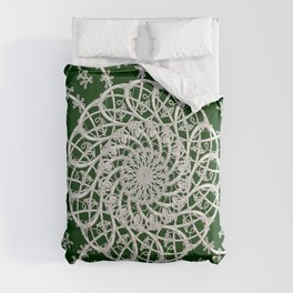 Mandala #104, Deep Green and White Comforters