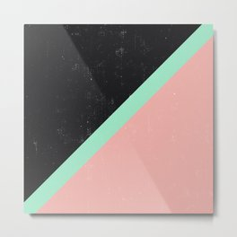 Girly Pink Mint Green Modern Color Block Black Metal Print