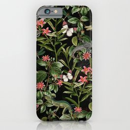 Vintage & Shabby Chic - Iguana And Insects Tropical Animals And Flowers Night Garden iPhone Case