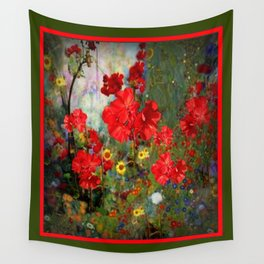 Red Geraniums Spring Florals Moss Green pattern Abstract Wall Tapestry
