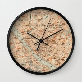 Vintage Map of Florence Italy (1895) Wall Clock