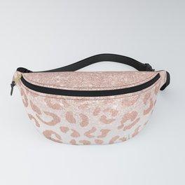 Trendy modern faux rose gold glitter ombre leopard pattern Fanny Pack