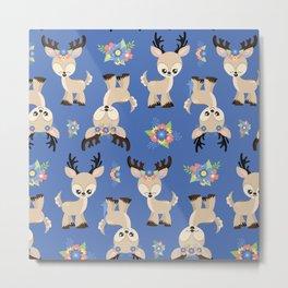 Floral Deer Neck Gator Cute Deer Blue Metal Print