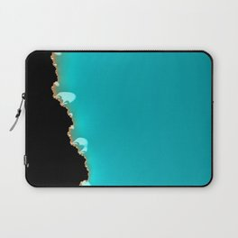 Creeping Teal with a Gold Edge Laptop Sleeve