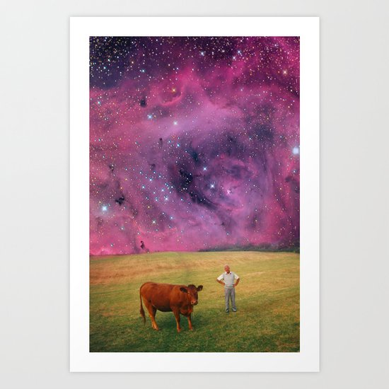 How Now Brown Cow #2 - What's that man doing in my field? Art Print
