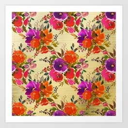 Vibrant Purple and Orange Flower Bouquets on Gold  Art Print