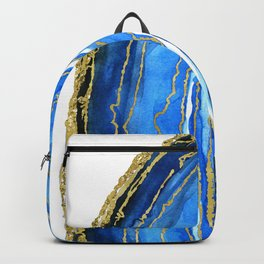 Cobalt blue and gold geode in watercolor (2) Backpack