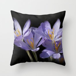 lilac crocusses on black Throw Pillow