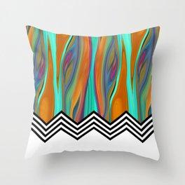 CHEVRON FLAME | aqua orange Throw Pillow