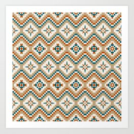 Tribal Pattern in Burnt Orange, Teal and Tan Art Print