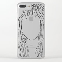 Girl with Dreads Sketch Clear iPhone Case